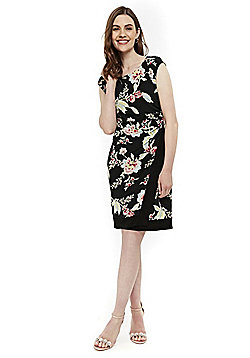 Wallis Oriental Wrap Hem Dress - Black Multi