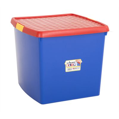 Wham 10.03 Clip 37L Box & Lid Blue/Red (Yellow clips) - Pack of 3
