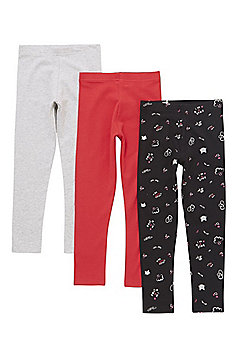 F&F 3 Pack of Slogan and Plain Leggings with As New Technology - Multi