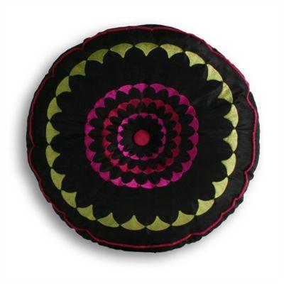Riva Home Romany Black & Fucshia Round Cushion 35cm