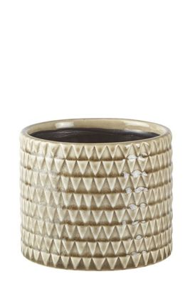 Galzone Small Ceramic Morrocan Tiled Indoor Plant Pot in Sand Brown