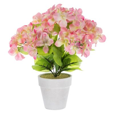 Homescapes Blush Pink Artificial Hydrangea Potted Plant with Lifelike Silk Petals