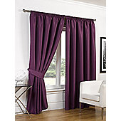 Dreamscene Luxury Faux Silk Blackout Curtains Ready Made Pencil Pleat Lined Free Tiebacks - Plum