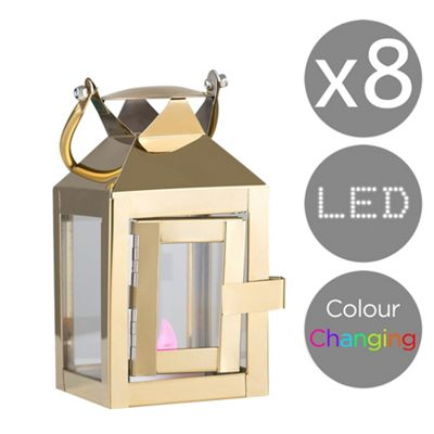 Set of 4 LED Hurricane Lantern Tea Light Holder & Rechargeable RGB Candles - Gold