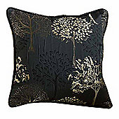 Homescapes Jet Black Filled Jacquard Cushion Embroidered Trees 43 x 43 cm