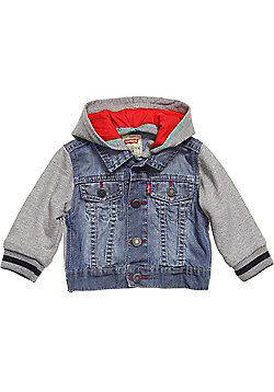 Levis Boys Denim & Jersey Hooded Jacket - Trucker Cliffy Design-Indigo-3-18Mths - Multi