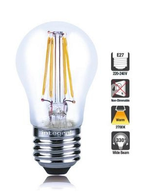 Integral LED Mini Globe Full Glass Omni-Lamp LED Light Bulb 4W (36W) 2700K Warm White E27