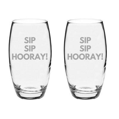 Argon Tableware Engraved Glass Highball Cocktail Tumblers - Sip Sip Hooray - 510ml - Pack of 2