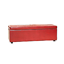 Sofa Collection Aledo Storage Footstool- Red