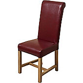 x2 Washington Braced Frame Burgundy Leather Dining Chairs
