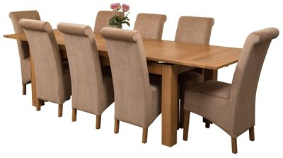 Richmond Large Extending Solid Oak Dining Set Table + 8 Beige Fabric Chairs