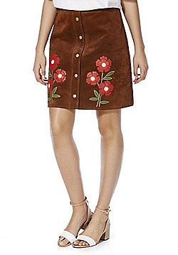 F&F Signature Applique Suede Mini Skirt - Brown
