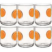 Bormioli Rocco Giove Water Tumbler Glasses - Set Of 6 - Orange - 310ml