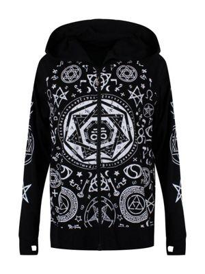Banned Pentagram Zip Women's Hoodie, Black.