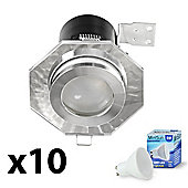 10 x Fire Rated IP65 Hexagon LED GU10 Downlights - Cool White