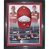 Signed Alonso & Raikkonen Ferrari Framed Cap - Formula 1