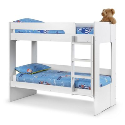 Happy Beds Ellie Wood Kids Bunk Bed with 2 Open Coil Spring Mattresses - White - 3ft Single