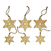 Set of 6 8 & 11cm Rustic Wooden Snowflake Christmas Tree Decorations