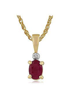 Gemondo 9ct Yellow Gold 0.59ct Ruby & Diamond Pendant On Chain