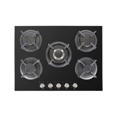 iQ 70cm Black Glass on Gas Five Zone Hob