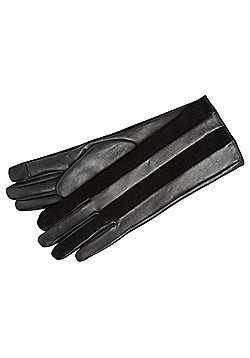 F&F Signature Leather and Suede Striped Gloves - Black
