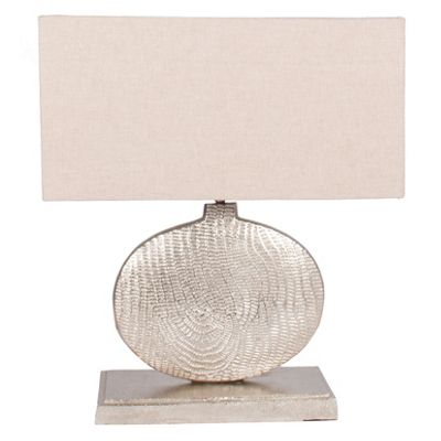 Aluminium Textured Oval Sculpture Table Lamp Comp