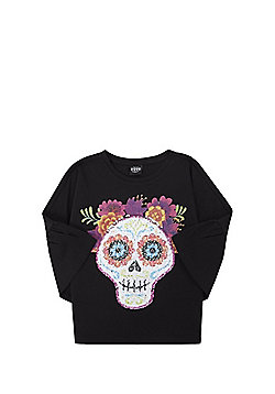 Disney Pixar Coco Two-Way Sequin Bell Sleeve T-Shirt - Black