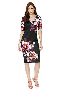 F&F Rose Print V-Neck Scuba Pencil Dress - Black & Pink