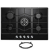 Cookology GGH755BK | 75cm Built-in 5 Burner Gas-on-Glass Hob in Black & Wok Stand