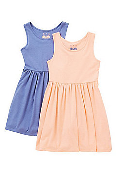 F&F 2 Pack of Sleeveless Jersey Dresses - Coral