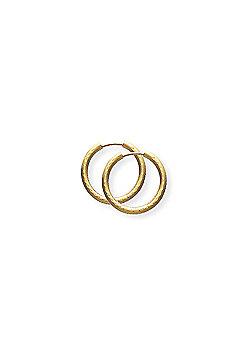 Jewelco London 9ct Yellow Gold - 14mm Regular Diamond-cut Sleeper Earrings -