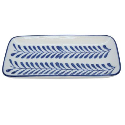 Blue & White Geometric Leaf Plate