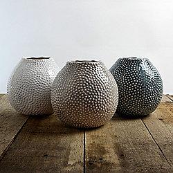 Set of 3 Glazed Ceramic Blue, Cream & Beige Large 15cm Sea Urchin Vases