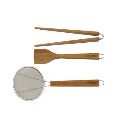 Typhoon Lotus Bamboo Wooden Utensil Set, Moisture Resistant, 3-Piece Set (Beige)