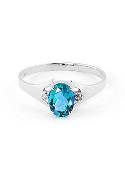 QP Jewellers Diamond & Blue Topaz Oval Desire Ring in 14K White Gold