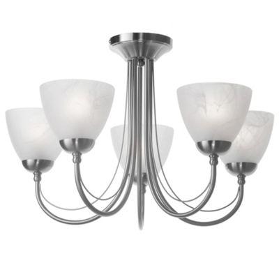 Litecraft Roma 5 Bulb Semi Flush Ceiling Light, Satin Nickel