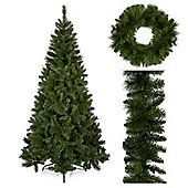 2m Tall Bristle Pine Artificial Christmas Tree Pack with Wreath and Garland