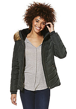 F&F Faux Fur Trim Shower Resistant Padded Jacket - Dark green