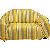 Homescapes Cotton Morocco Striped Yellow Throw, 150 x 200 cm