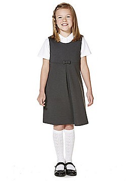 F&F School Bow Detail Jersey Pinafore - Grey