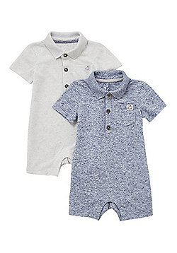 F&F 2 Pack of Marl Polo Rompers - Blue & Grey