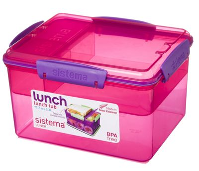 Sistema 2.3L Lunch Tub with Removable Multi Compartment Tray, Pink
