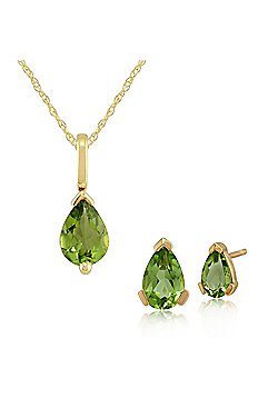 Gemondo 9ct Yellow Gold Peridot Claw Set Pear Stud Earring & 45cm Necklace Set