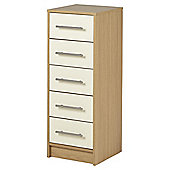 Lindon Gloss 5 Drawer Tallboy Chest, Cream