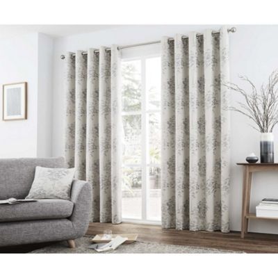 Curtina Elmwood Silver Eyelet Curtains - 66x90 Inches (168x229cm)