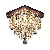 Homcom Square Crystal Lamp Flush Mount Chandelier Icicle Ceiling Pendant
