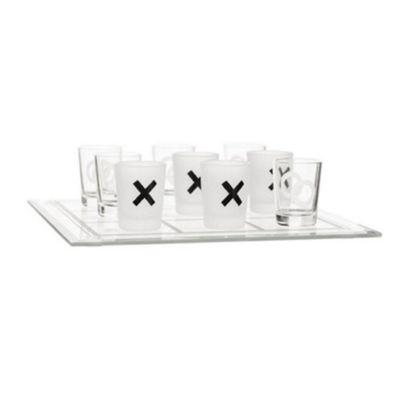 Sagaform Set of 9 Drinking Shot Glasses Tic Tac Toe Game 5016681