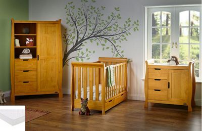 Obaby Stamford Mini Cot Bed 5 Piece Nursery Room Set/Sprung Mattress/Quilt and Bumper Set - Country Pine