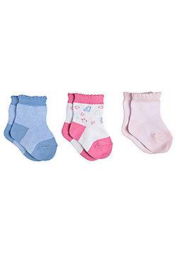 F&F 3 Pair Pack of Bird Plain Ankle Socks - Multi