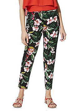 F&F Hibiscus Print Ankle Grazer Mid Rise Slim Fit Trousers - Multi